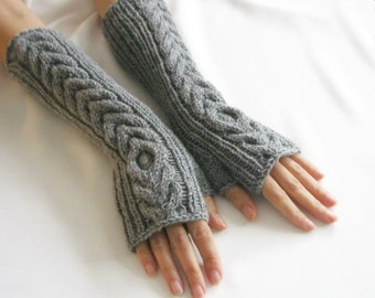 GRAY LONG Fingerless Gloves, Merino Wool Mittens, Arm Warmers with cable patterns, Hand Knitted, Eco Friendly