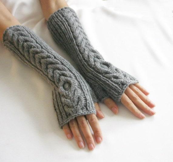 Long Arm Warmers Knitting Pattern : GRAY LONG Fingerless Gloves Merino Wool Mittens Arm Warmers