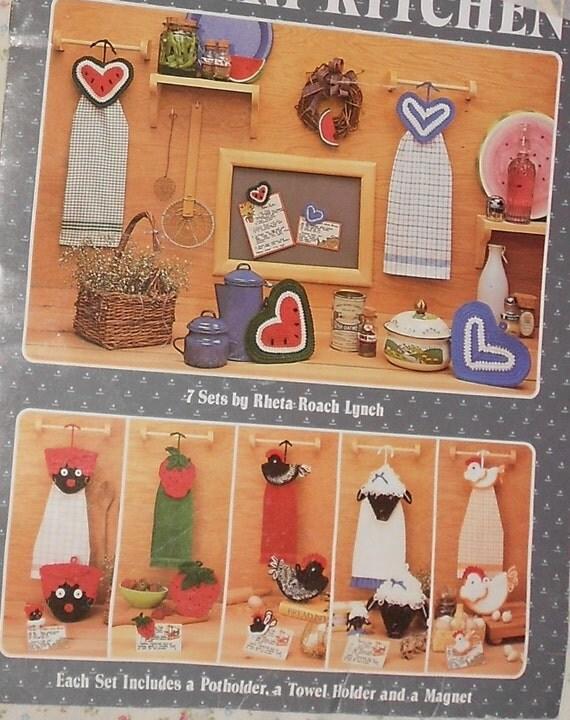 SALE Crochet Pattern Towel Holder Potholder Magnet Country Kitchen Leisure Arts Vintage Pattern 7 Sets Mammy Strawberry Chicken  Lamb Hearts