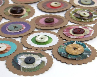 Recycled Flower Embellishments, upcycled eco-friendly gift packaging, self adhesive