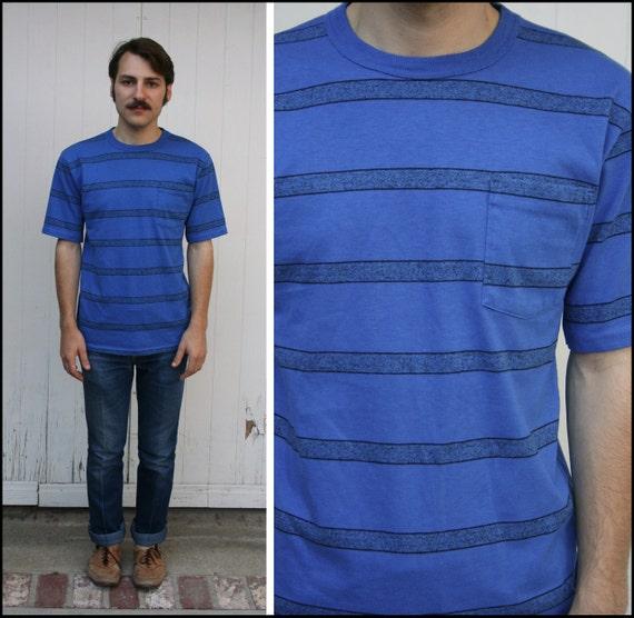 Vtg 80s / 90s Blue Striped T Shirt Basic Pocket S M