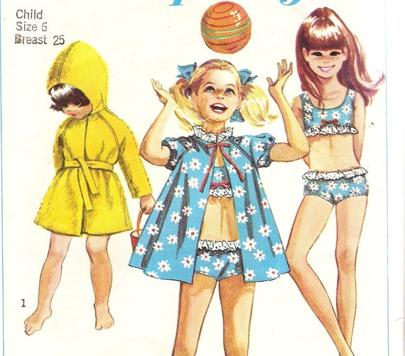 "Girls size 6 Two Piece Swimsuit & Cover up Pattern Beach Robe Vintage Sewing Pattern 1960s Simplicity 7710 bust 25"" complete"