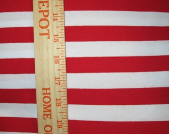 "Apx. 7/8"" Red and White Cotton Lycra Stripe Knit Fabric"