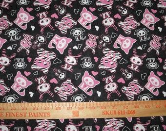 Skelanimals -  Hot PInk Zebra Kawaii Icons Cotton Woven
