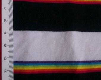 Araceli Black and White Rainbow Cotton Lycra Stripe KNit  Fabric