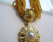 Anne Klein Gold rope pearl and rhinestone necklace     VJSE