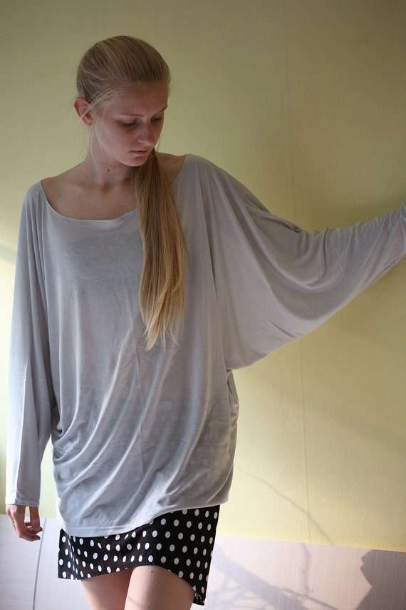 Grey cotton oversized kimano type shirt, tunic