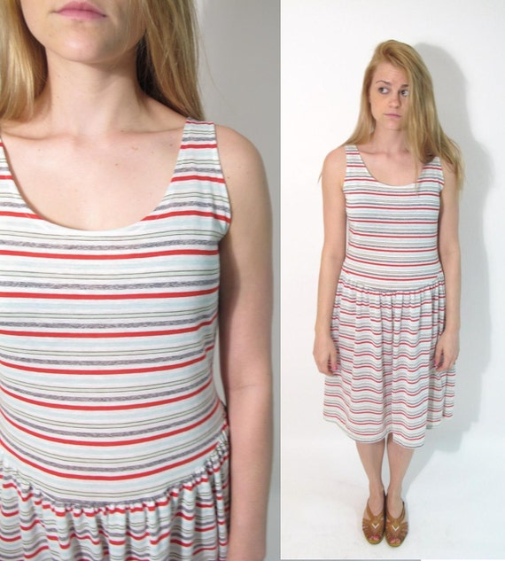 SALE// 1970s Stripe Drop Waist Comfy Pullover Summer Sun Dress