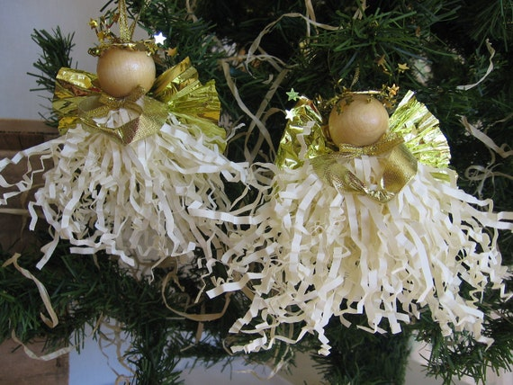 Angel Christmas Ornaments Beige Paper Crimp Angels Set of Two Beige Gold Angel Ornaments
