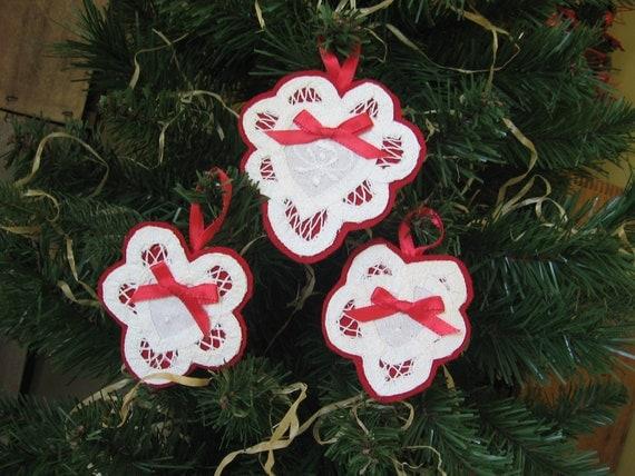 White Battenburg Lace Hearts and Felt Valentine Ornaments Set of Three