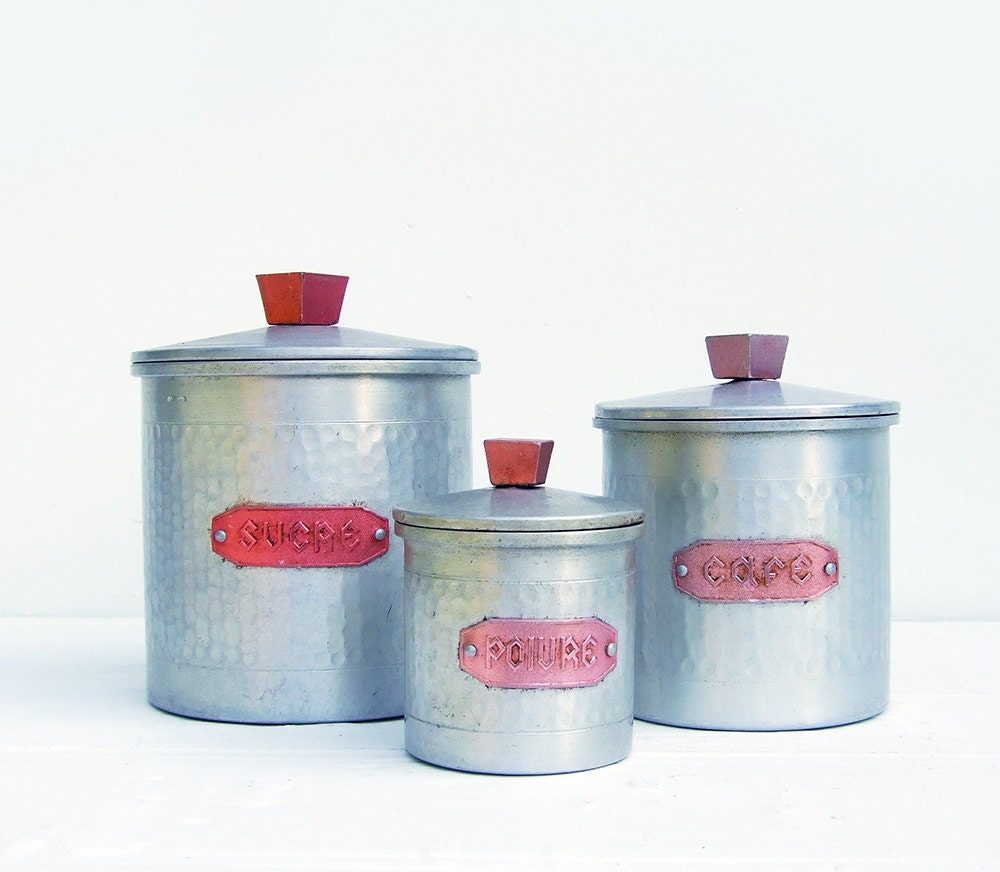 French Kitchen Canisters: Aluminum Canister Set Vintage French French