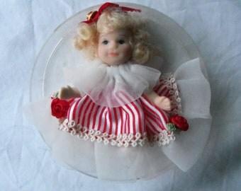 Vintage Miniature Porcelain Doll Candy Cane Stripe Dress