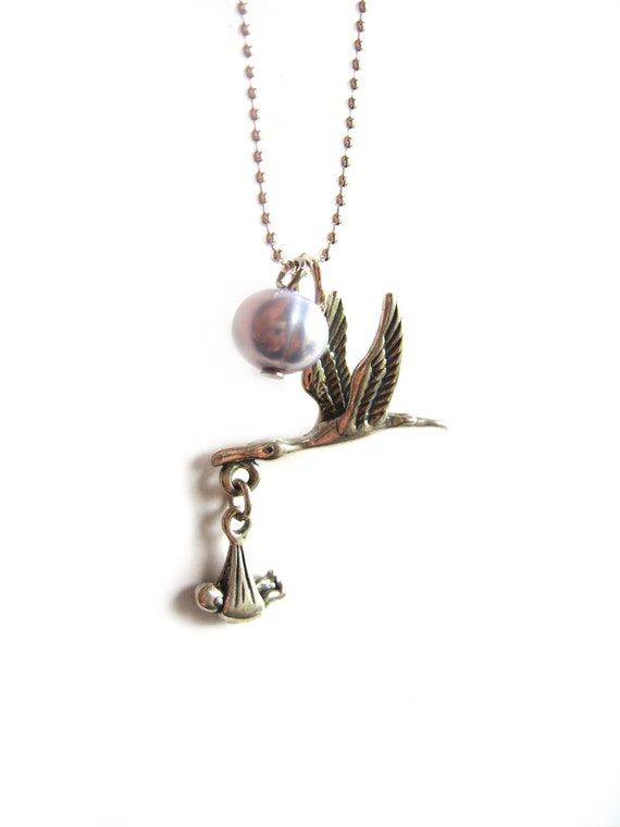 Stork Necklace New Moms Jewelry Sterling Silver Bird Baby Bundle Charm Personalized Babyshower Gift