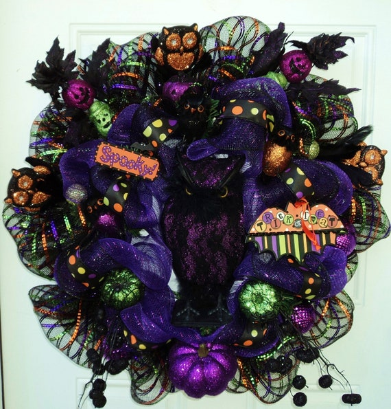 Owl Halloween Wreath Halloween Deco Mesh Wreath Purple