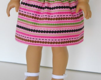 18 inch Doll Clothes American Girl Corduroy Skirt - pink stripes