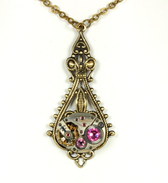 Steam Punk Jewelry Necklace Steampunk Vintage Watch Necklace October Rose Pink Art Nouveau Steampunk Jewelry by VictorianCuriosities