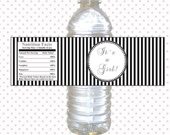 Printable Black White Stripes Lines Baby Shower Water Bottle Labels Wrappers - Its a Girl Baby Shower Favors Party Favors INSTANT DOWNLOAD