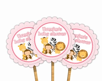 Printable Personalized Jungle Pink Baby Shower Cupcake Topper -  Safari Zoo Giraffe Zebra Lion Monkey Polka Dots Baby Shower Custom Girl