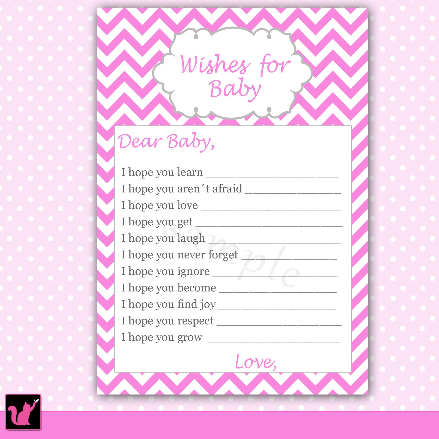 Baby Shower Cards Messages: Wishes For Baby Card Pink Zigzag Chevron Baby By Pinkthecat