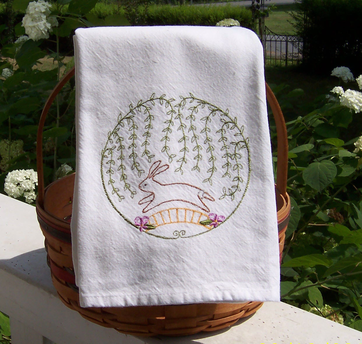 Bunny Arbor Embroidered Tea Towel/Embroidered Kitchen Dish