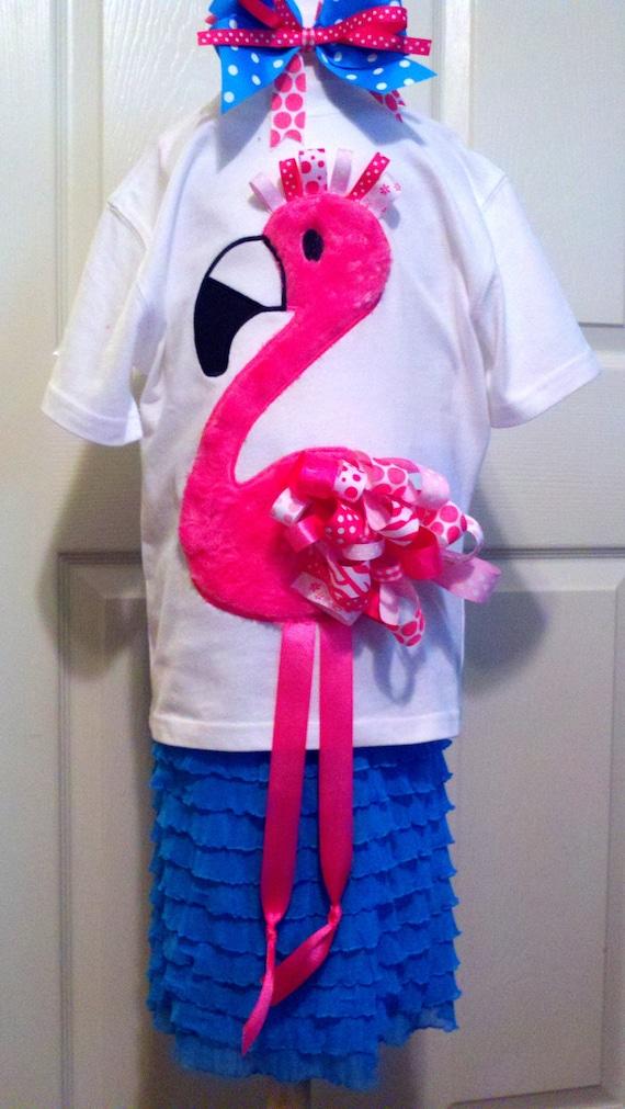 Ribbon Flamingo Machine Applique Design