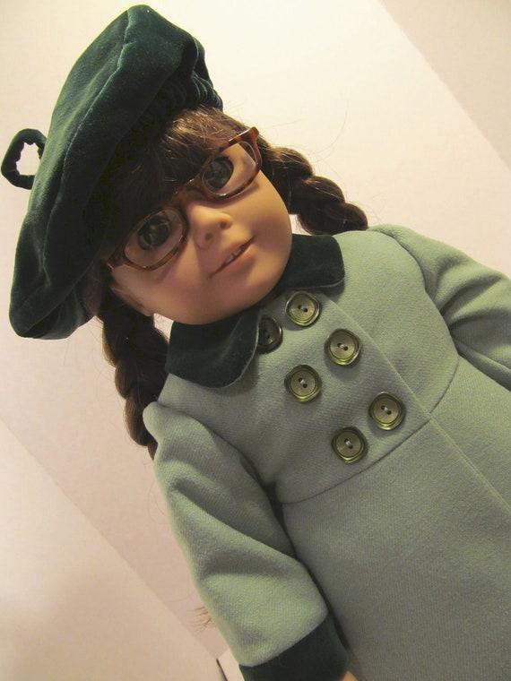 Wool Coat & Velvet  Beret, American Girl Doll Clothes