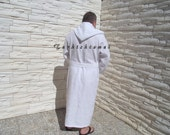 Make to Order-Turkishtowel-Plus Size BATH ROBE-Traditional Turkish-Pure Cotton,Bath,Spa,Yoga,Travel From Peshtemal-White Stripes on White