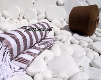 Turkishtowel-Soft-High Quality,Hand Woven,Cotton Bath,Beach Towel or Sarong- Brown and white  Stripes