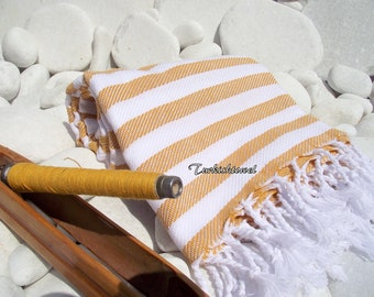 Turkishtowel-Soft-Highest Quality Pure Organic Cotton,Hand Woven,Bath,Beach,Spa,Yoga,Travel Towel or Sarong- Mustard and White  Stripes