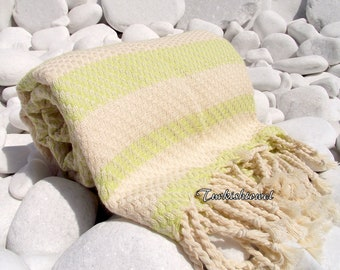 Turkishtowel-Highest Quality Pure Organic Cotton,Hand Woven,Bath,Beach,Spa,Yoga Towel or Sarong-Mathing-Natural Cream and Pale Lime Green