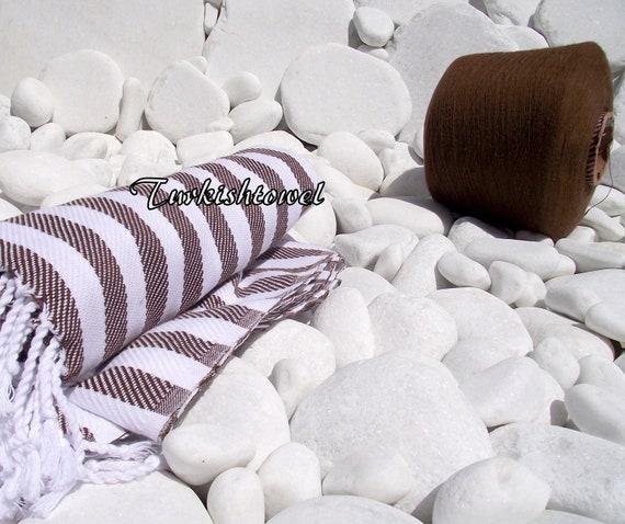 Turkishtowel-Soft-High Quality,Hand Woven,Cotton Bath,Beach Towel or Sarong- Brown and white  Stripes