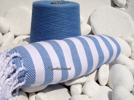 Turkishtowel-Soft-Highest QualityPure Organic Cotton,Hand Woven,Bath,Beach,Spa,Yoga,Travel Towel or Sarong-Pastel Blue and White Stripes