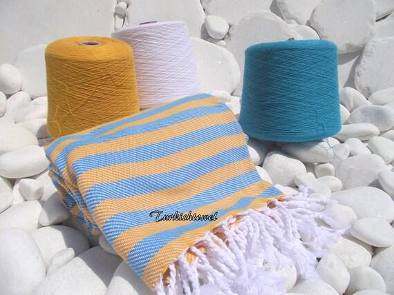 Turkishtowel-Soft-Highest Quality,Pure Organic Cotton,Hand Woven,Bath,Beach,Spa,Yoga,Towel or Sarong-Mustard and Turquoise Stripes