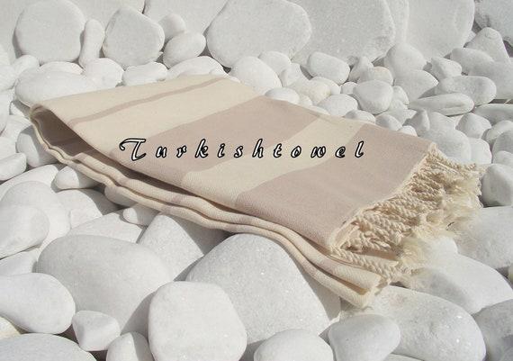 Turkishtowel-High Quality,Hand-Woven,Pure Cotton,Bath,Beach,Spa,Yoga,Travel Towel or Sarong-Natural Cream and Pastel Beige Stripes