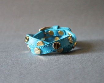 Screw Stud Ornament Leather Bracelet(Persian Blue)