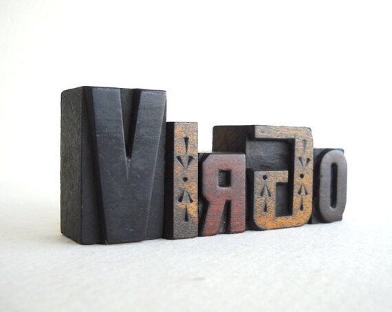 VIRGO - 5 Vintage Letterpress Wooden Alphabet Collection -Zodiac Series - VG13
