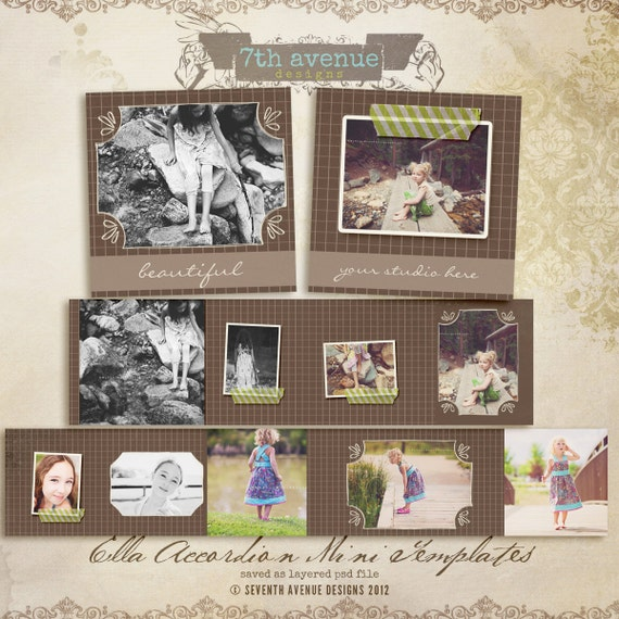 Ella 3x3 Accordion book templates for photographers