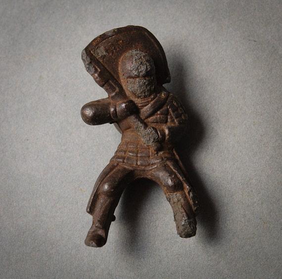 Antique original brass figurine, soldier, ninja