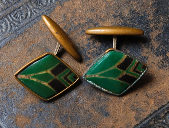 Pair of vintage brass cuff links. Art Deco, marked D.R.C.M.