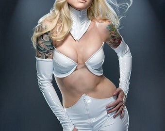 CLEARANCE White PVC with front zipper Neck Corset from Artifice Clothing S/M (stained sample)