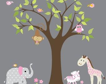 Girls Safari Jungle with Monkey Elephant Owl Birds-Nursery Wall Vinyl Decal