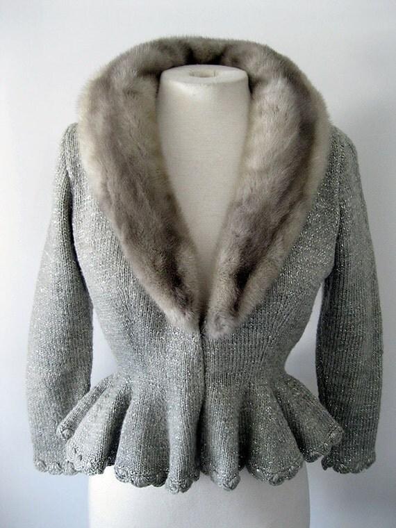 Reserved for Demetra - 1940s MINK and SILVER GLITTER Peplum Wasp Waist Knit Sweater Jacket