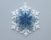Quilled Christmas Ornament, Snowflake with Blue Quilled Center