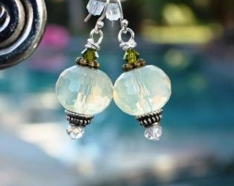 Gorgeous Dangle Earrings of  Translucent Glass Beads on French wire