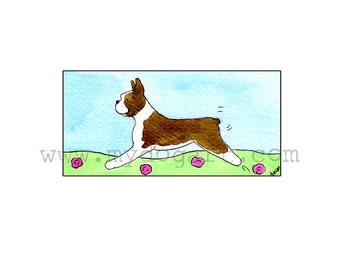 Whimsical Boston Terrier print 5x7
