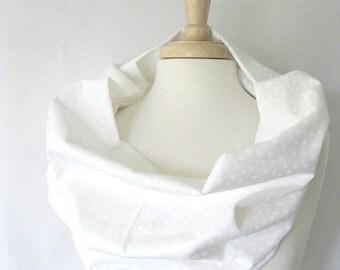 White on White Batik Scarf in Pure Snow White Lightweight Cotton Infinity Scarf