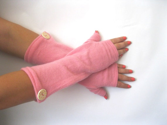 Cashmere Fingerless Gloves - Pink Texting Gloves - Wrist Warmers : Upcycled Recycled Repurposed