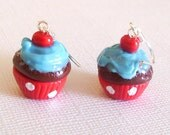 Blue Cherry Chocolate Cupcake Earrings, Mini Food Earrings with Blue Frosting, Red Wrappers, and Cherries, Kawaii, Blue and Red, Polka Dots