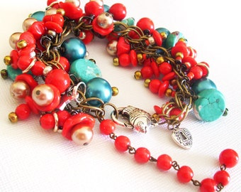 SALE  Bracelet remade with vintage Teal, Red, and Gold Beads with Various Charms, 7.5 Inches with an extender chain, Found Vintage Bead