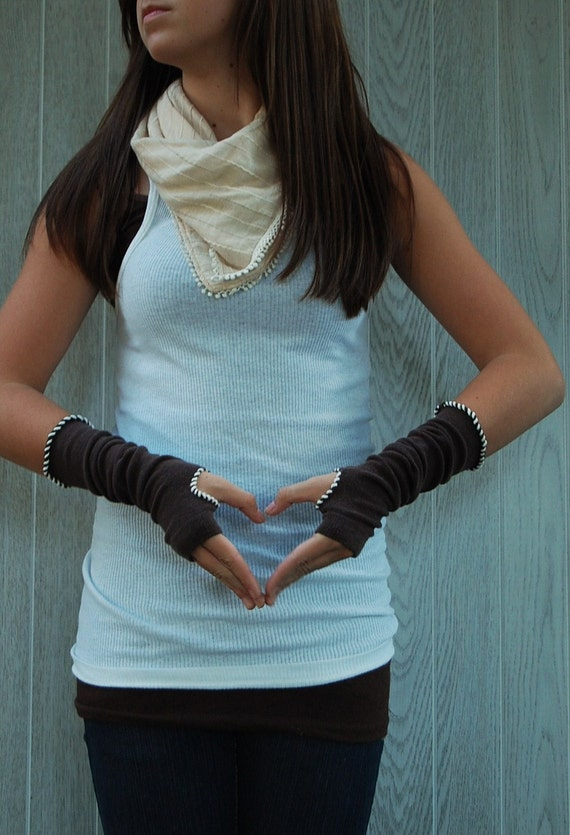 Chocolate Brown and Creme FINGERLESS GLOVES-Arm Warmers by The Accessories Nook